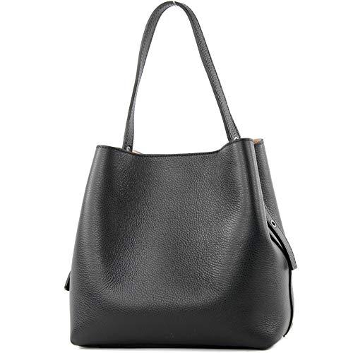 modamoda de - T188 - ital. Shopper Henkeltasche aus Leder, Farbe:Schwarz