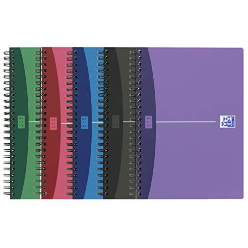 Oxford Urban Mix Spiralbuch A5, kariertes Notizbuch, 5 Farben, 5er Pack