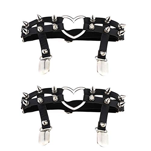 Jurxy 1 Pair Gothic Studded Heart Garters Leg Ring Leg Elastic Punk Harness Garter Belt Adjustable Suspender with 2 Metal Clips – Black