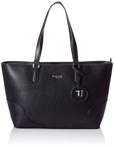 Trussardi Jeans Deco Edge Shopper Drummed Ecol, Sac porté main femme, Noir (Black), 27x13x36 cm (W x H L)