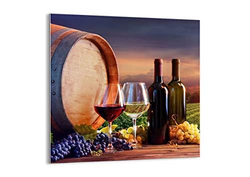 ARTTOR Quadro su Vetro - Elemento Unico - Vino vigneto Estate - 70x70cm - Pronto da Appendere - Home Decor - Arte Digitale - Quadri Moderni in Vetro - Stampe da Parete - GAC70x70-4125
