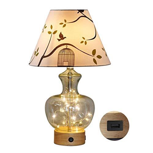 Lámpara de mesa de iluminación / lámpara de escritorio multifuncional USB Lámpara de mesa caliente romántica dormitorio mesa lámpara moderna arriba y abajo luz fuente lámpara lámpara transparente vidr