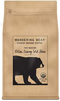 Wandering Bear Extra Strong Organic Coarse Ground Coffee for Cold Brew 1 lb Bag Dark Roast Organic product image