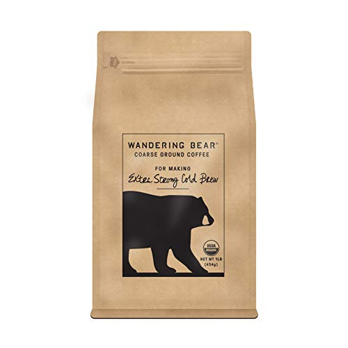 Wandering Bear Extra Strong Organic Coarse Ground Coffee for Cold Brew 1 lb Bag - Dark Roast Organic Smooth Delicious