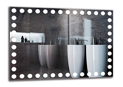 ARTTOR Spiegel mit licht - Bathroom Mirror with Light. Badezimmer Dekoration und Badezimmerausstattung - Wandspiegel Groß und Klein. Unterschiedliche Lichtanordnung - M1ZP-57-70x50