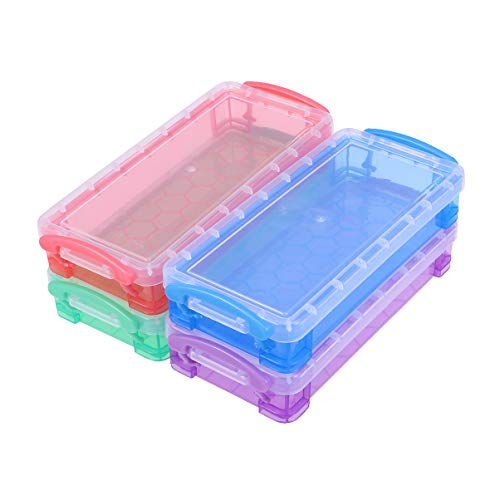 Caja de lápices multiusos Toyvian, de plástico, transparente, caja de almacenamiento para...