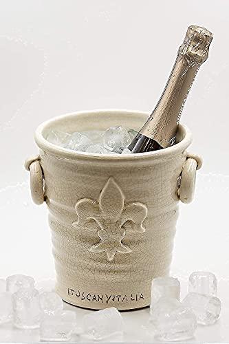 ituscanyitalia Secchiello del Ghiaccio Fatto a Mano per Vino Champagne e Spumante - Portaghiaccio per Vino - Cestello del Ghiaccio - Ice Bucket - Portapiante per Cerimonie -