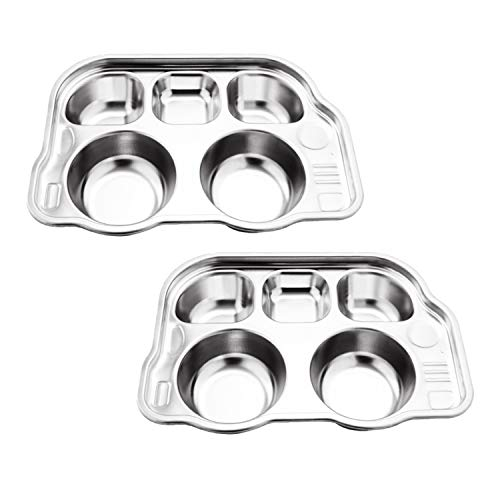 BabyLum 2 Pack Family Car Design Stainless Steel Plate with 5 Round Divided Section - for Kids and Picky Eaters