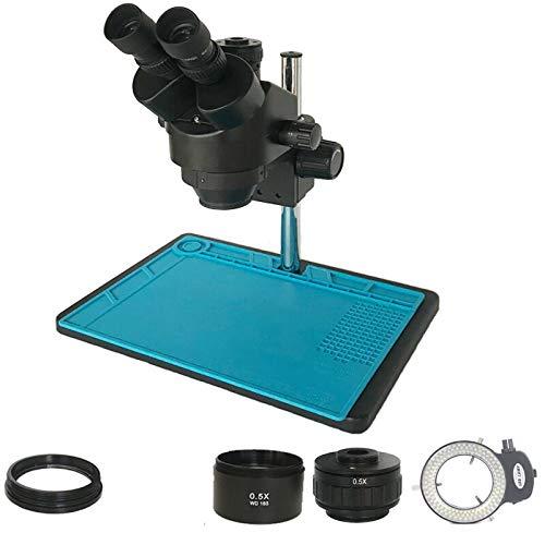Manyao Arrival 3.5X-90X Trinocular Stereo Zoom simul-focal Microscope 0.5X Objective Lens soldering industrial microscopio (Color : 3.5X 45X BK)