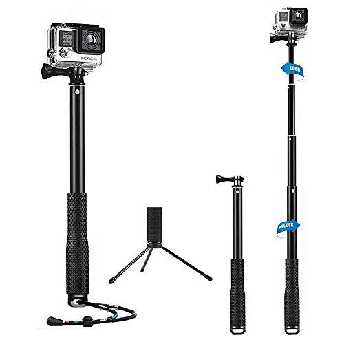 Mystery Selfie Stick für Gopro Fotostativ Wasserdichtes Einstellbares GoPro Monopod-Stativ mit Daumenschraube und Handgelenkschlaufe für GoPro 5/4/3+/3/2/1 Xiaomi Action-Kameras (14-43inch)