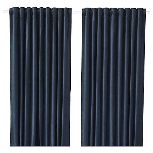 IKEA SANELA Velvet Curtains 55x98 Room Darkening 2 Panels 1 Pair Dark Blue
