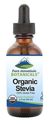 Organic Liquid Stevia Sweetener – Alcohol Free and Kosher Sugar Substitute - 2oz Glass Bottle
