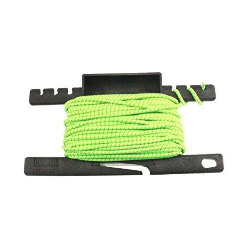 PSKOOK Reflektierende Schock Bungee Cords Elastische Seile mit Einem Multifunktionalen Spool Tool für Outdoor-Camping Wandern der Durchmesser 1/8 inch(3mm) 50FT (Neongrün)