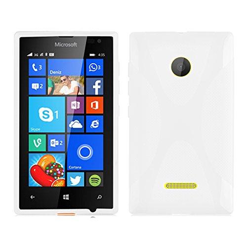 Cadorabo Hülle für Nokia Lumia 435 Hülle in Handyhülle aus flexiblem TPU Silikon im X-Line Design Silikonhülle Schutzhülle Soft Back Cover Hülle Bumper Magnesium Weiß