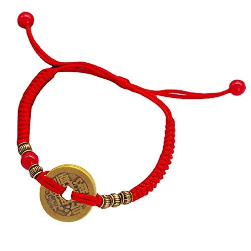 WMSK Cuerda roja tejida cobre moneda pulsera Zhaocai transshipment tejido a mano cinco emperador moneda estilo nacional pulsera joyería
