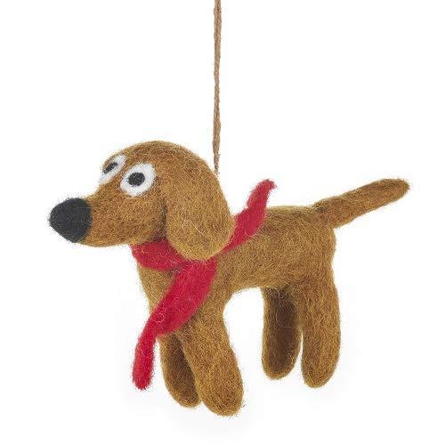 Fairtrade vilt teckel met gebreide sjaal kerstboom decoratie