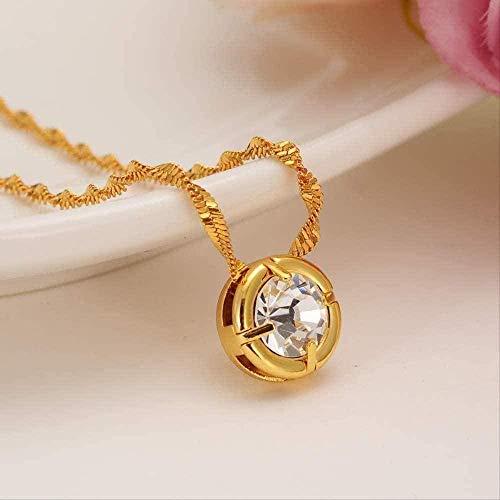 Collar Mujer Hombre Colgante Collar de oro con colgante de cristal de diamantes de imitación CZ Piedra Collar con llave griega Joyería de mujer Regalos para hombres Mujeres Niñas Encantos