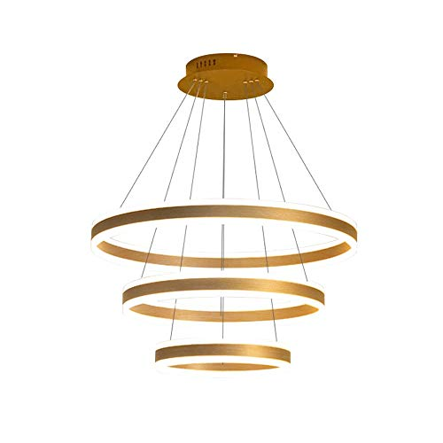 Luces colgantes del LED moderno, altura de la araña de metal Ajustable 3 anillos (20 + 40 + 60 cm) Luces colgantes, lámpara de techo regulable tricolor para el comedor del dormitorio Droplight (Dorado