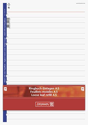 Brunnen 1066301 Ringbucheinlagen (A5, liniert mit roter Kopflinie, 50 Blatt, 70 g/m²)
