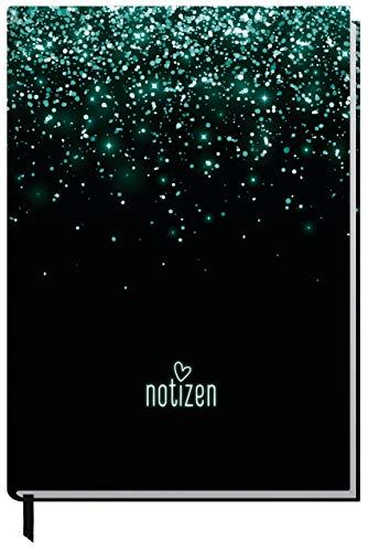 Notizbuch A5 kariert [Glitter] von Trendstuff by Häfft | 126 Seiten | Ideal als Tagebuch, Bullet Journal, Ideenbuch, Schreibheft | klimaneutral & nachhaltig