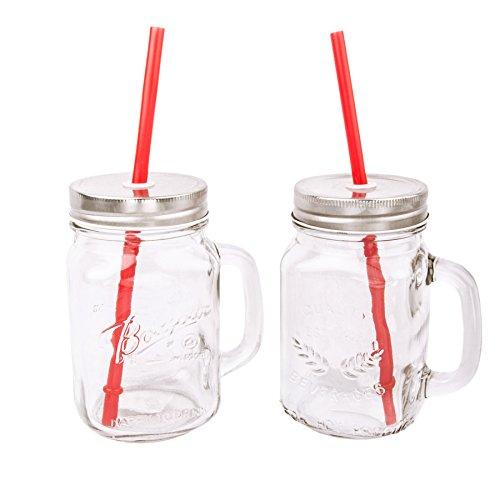 Vintage Trinkgläser mit Henkel Strohhalm in Zwei Varianten, 400ml - 2er Set / 4er Set (2er Set)