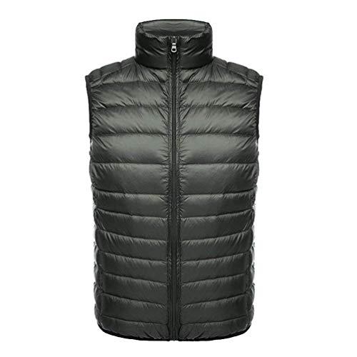 Saoye Fashion Herren Slim Stehkragen Daunenweste Steppweste Ultra Leicht Warm Rmellos Daunenjacke Kleidung Padded Weste Warm Herbst Und Winter (Color : ArmyGreen, Size : L)