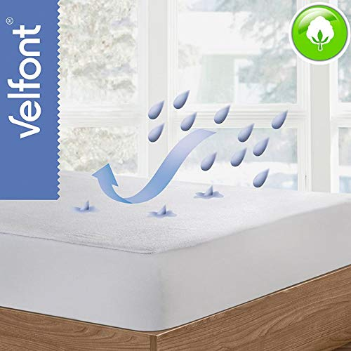 Velfont Waterproof & Breathable Terry Mattress Protector for Baby Cot 70 x 140 cm
