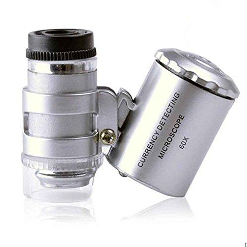 Topker 60X Handheld Lupe Mini Pocket Mikroskop Lupe UV Währung Detektor Juwelier Lupe mit LED-Licht