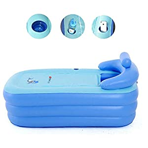 Relaxbx Drain Gonflable Chaud de Baignoire de Baignoire portative Se Pliante de PVC de Station Thermale * 1 + Coussin * 1