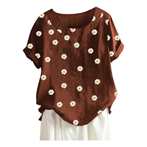 WGNNAA Bluse Damen Kurzarm Oberteil Casual Baumwolle Leinenbluse O-Ausschnitt Tops Tunika Kleine Gänseblümchen Gedruckt Lose Hemd Große Größen