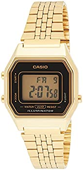 Casio Ladies Mid-Size Gold Tone Digital Retro Watch LA-680WGA-1DF
