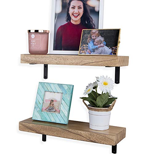 Wallniture Colmar Floating Shelves for Bedroom Wall Decor, Wood Wall Shelf Set of 2, 17