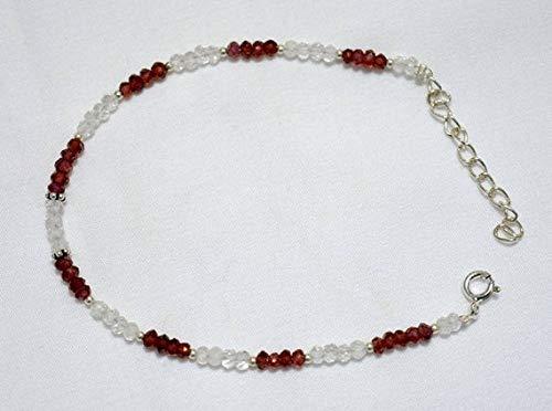 World Wide Gems Gemstone Beaded Bracelet, Garnet Bracelet, Crystal Bracelet, Silver Bracelet for Women Size-3-3.5 mm
