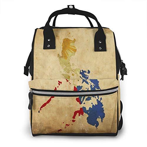 Vintage Filipinas mapa de gran capacidad multifunción momia mochila bebé pañales bolsas para el cuidado del bebé