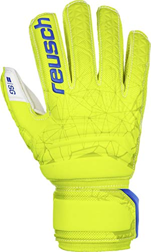 Reusch Fit Control SG Finger Support - Guantes de Portero para niños, Infantil, Color Lime/Safety Yellow, tamaño 4