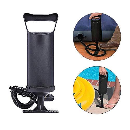 Tragbare Luftpumpe, Ballpumpe für aufblasbare Luftmatratzen Sportbälle Dual-Action Handpumpe schwarz