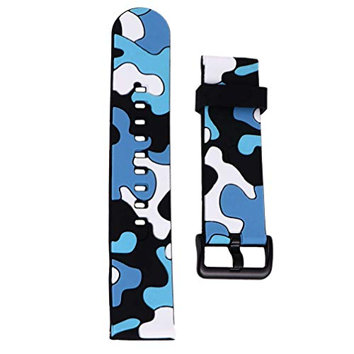 UKCOCO Pulseira de Silicone para Relógio Esportivo Substituição de Pulseira de Relógio de Camuflagem Profissional Pulseira de Pulseira Compatível para Polar Vantage M Grão X Azul 20Mm