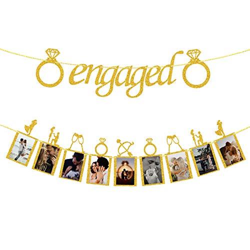 Decoración de boda de compromiso, banderines dorados y carteles fotográficos con marcos...