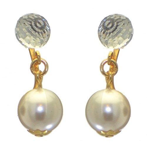 ABRIL Orecchini a clip placcati oro swarovski elements cristallo e bianco perla