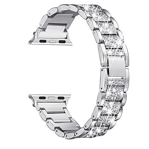 Mantimes Bling Bandas compatibles con iWatch Band 38mm 40mm 42mm 44mm iWatch SE Series 6/5/4/3/2/1, Dressy Jewelry Pulsera de metal ajustable (42mm/44mm, plata)
