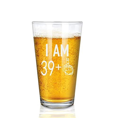 39 + One Middle Finger Beer Glass, 40th Pint Glass - 40th Birthday Gifts for Men, Dad, Grandpa, Brother, Husband, Friends - Gift Idea for Birthday, Christmas