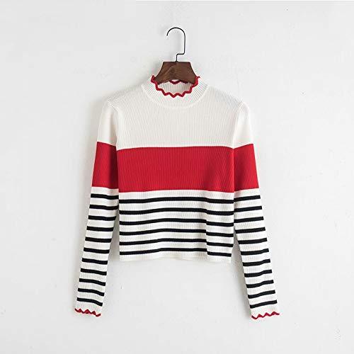 FUHENGMY Pullover Fashion Wave Cut Knitwear Nouvelle Automne Femmes Pulls À Manches Longues avec Rayé Casual O Cou Bureau Dames Chandails