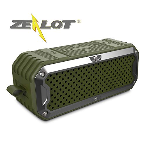 Zealot Wireless Outdoor Waterproof Bluetooth Speaker S6 Portable Altavoces Altoparlante SD Card32G Bass Audio Cable Stereo 5200mAh Battery(Green)