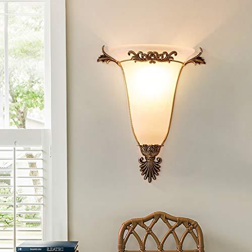 WRMING Innen Wandleuchte Messing Vintage Wandlampe Antik Landhaus Flurlampe Schlafzimmer Nachttischlampe E27 Glas Retro Wandbeleuchtung für Küche Wohnzimmer Treppen Restaurant