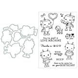 Sayletre Netter Roboter Schneidwerkzeuge + Clear Stamp Silikon Stempel für Crafting DIY...