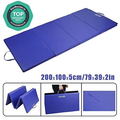 CCLIFE 200x100x5cm,Tappetino Pieghevole da Ginnastica, Tappetino per Allenamento Fitness e Yoga 3 Pieghe, Colore:Blu