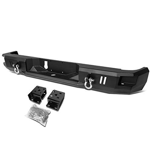 Replacement for RAM Truck Heavy Duty Steel Welded Corner Step Rear Bumper w/Dual D-Rings (Black)