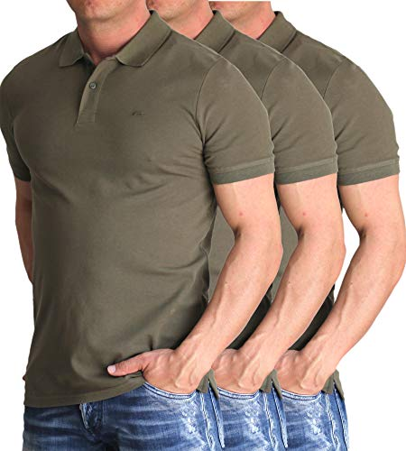 JACK & JONES 3er Pack Herren Basic Polo Shirt Slim Fit Kurzarm Schwarz Weiß Blau Polohemd Poloshirt (3er Pack Olive Night, L)