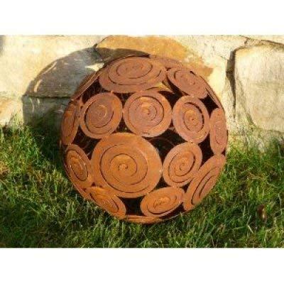 Rostikal | Edelrost Kugel mit Schneckenornamenten | rostige Gartendekoration | Ø 28 cm