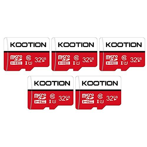 Scheda Micro SD 32GB Classe 10, KOOTION Memoria MicroSD 32 Giga 5 Pezzi Scheda TF SD(A1 e U1) per Telefono, Videocamera, Switch, Gopro, Tablet, Pack 5 Unità Alta Velocità di Lettura Fino a 100 MB s